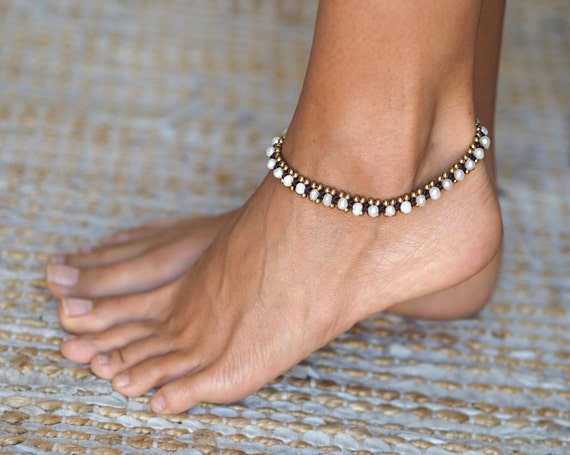 pearl anklet shell anklet beach jewelry beach anklet. Black Bedroom Furniture Sets. Home Design Ideas