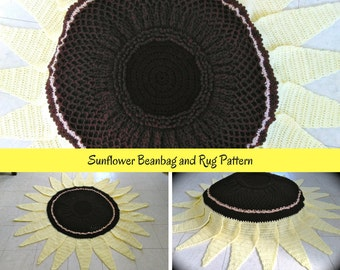 Beanbag Lemon Queen Sunflower Crochet Pattern, Giant Flowers, Crochet Flower Pattern, Crochet Sunflower