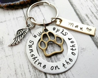 Dog Memorial ~ Dog Loss ~ Custom Dog Tag ~ Dog Remembrance  ~ Hand Stamped Key Chain ~ Personalized Dog ~