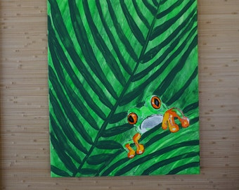 Red eye tree frog painting, large frog artwork, frog wall art, frog nursery art, frog bathroom decor, tropical decor, original frog painting