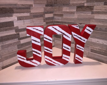 Handpainted JOY Holiday Paper Mache Letters!!!