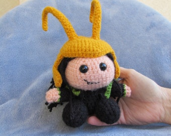 Loki of the Avengers. Handmade.  Collectible Crocheted Amigurumi Character, Friend of Thor