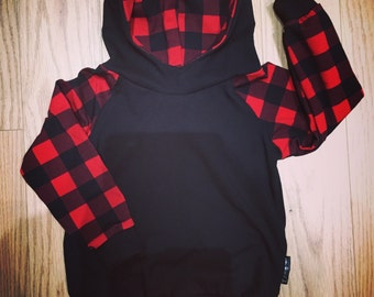 BALANCE for baby and child, red and black Plaid Hoodie made by a MOM