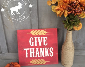 Thanksgiving Give Thanks Wood Sign
