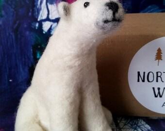 Polar bear needle felted soft sculpture