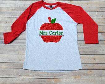Teacher Shirt, Monogrammed Apple Raglan Shirt, Back to School, Teacher Gift,  Teacher Christmas Gift, Teacher Monogram, Teacher Appreciation