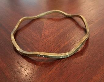 Vintage Sterling Silver Wavy Bangle Bracelet
