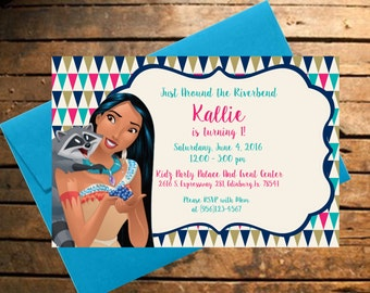 Downloadable Pocahontas with Meeko Themed Birthday Invitation