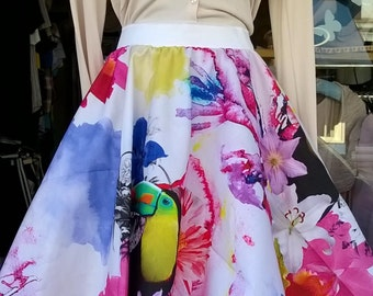 Tropical tucan design 1950s/60s inspired swing skirt