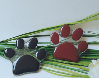 """Brooch """"Footprint"""" glass fusing. Glass pin footprint dog. Gifts for her. Gift ideas for the."""
