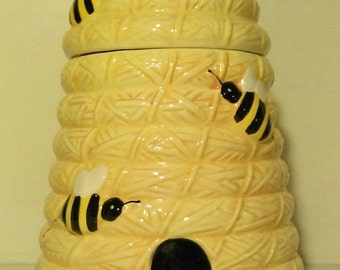 On Sale Vintage Pier One Imports Beehive Cookie Jar-Bright Yellow Ceramic Beehive Honey Bee Cookie Jar-Perfect condition and BIG