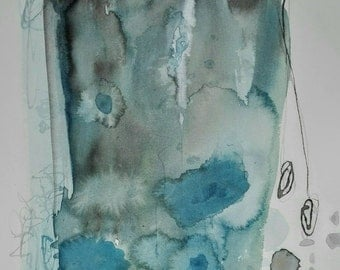 Blue and gray watercolor on paper