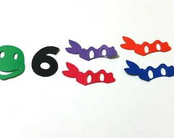 Ninja turtles confetti,  Mutant ninja turtles party confetti with number of your choice 150 pieces
