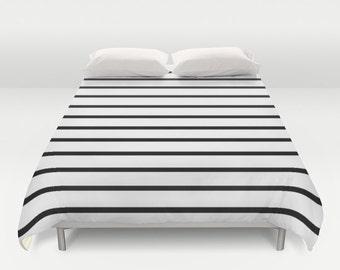 Duvet Cover, Black and White Striped Bedding, Kids Room Decor, Girls Bedding, Boys Room Decor, Teen Room Decor, Dorm Room, Girls Bedroom