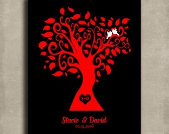 Personalized Valentine Wedding Family Tree Black Red Love Birds Tin Sign Gift Girlfriend February Anniversary Custom Metal Art Print #1417