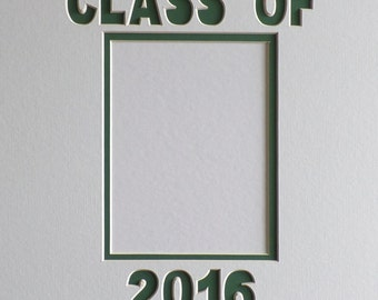 Customizable White Graduation 2016 Double Signature Photo Mat Collage Frame Mat 12 x 16 Personalized In School Colors