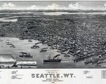 1884 Aerial Panoramic Map of Seattle Washington