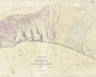 1875 Map of Santa Monica California Topography