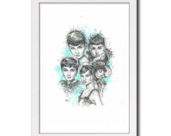 Audrey Hepburn - Movie Print Poster Portrait Collage Black and White Art Drawing Illustration Instand Download