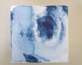 Original Abstract Blue Painting 6x6 Stretched Canvas