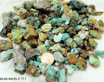 Turquoise Mine Run  pieces and nuggets T11 1/2 in and up 16 ounces One pound  jewelry cabochons beads silversmith lapidary inlay