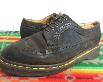 90's dr martens wingtip leather shoes made in england mens size 8