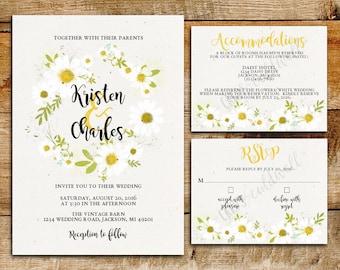 daisy invite | etsy, Wedding invitations