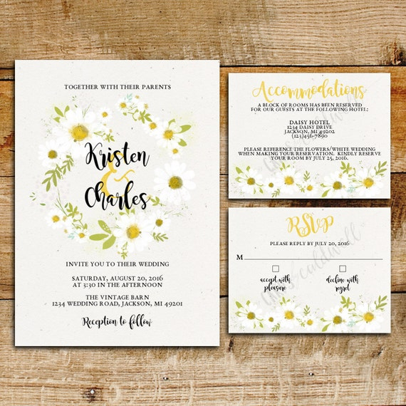 Daisy Wedding Invitation Suite White Daisies Printable