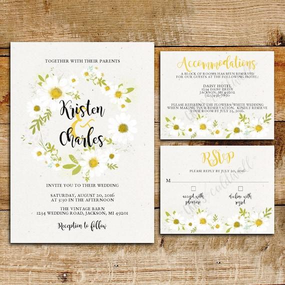 White Black Gold Daisy Wedding Invitation: Daisy Wedding Invitation Suite White Daisies Printable
