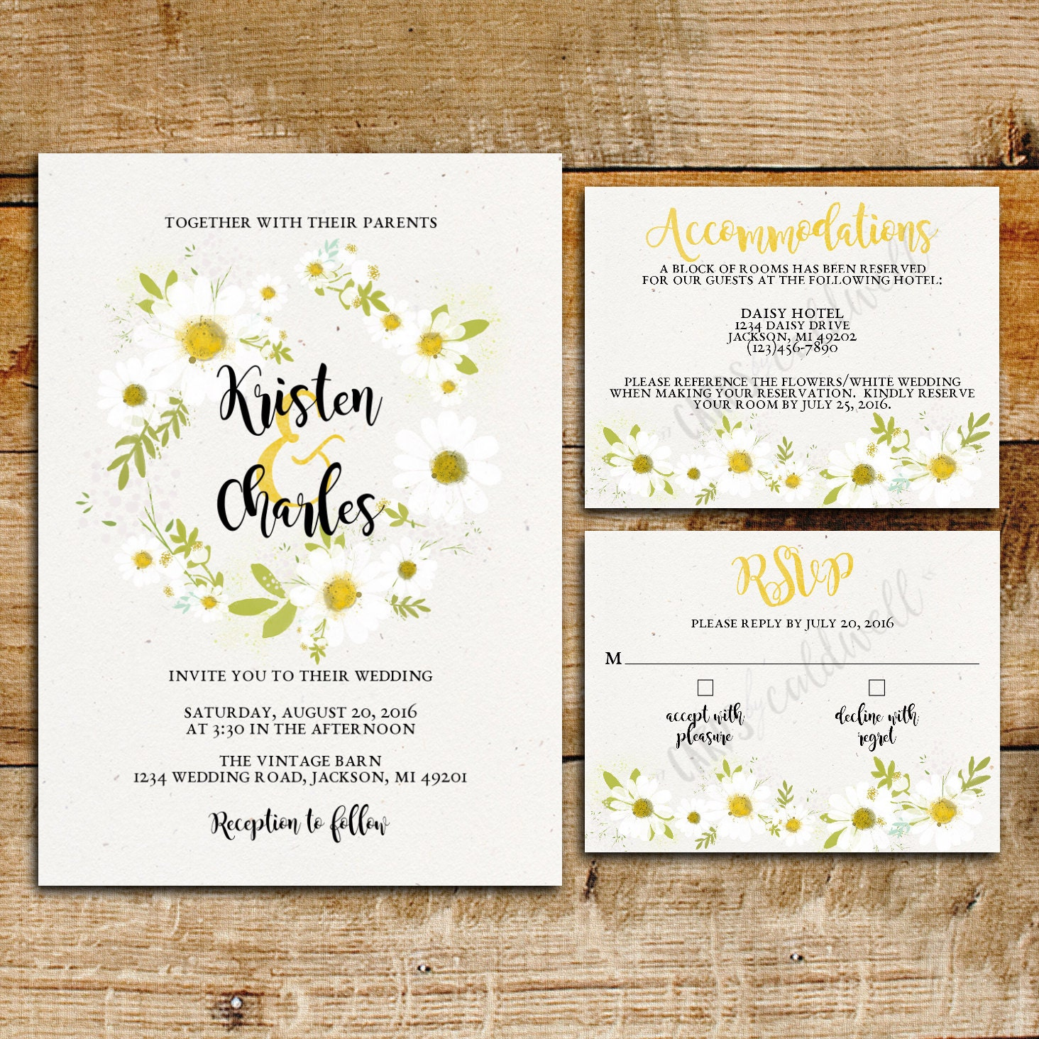 White Daisy Wedding Invitation