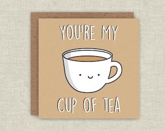 Cute Card Funny Birthday Card Greeting Card Anniversary Card Cup Of Tea Card For Boyfriend Card For Girlfriend Card For Husband Kawaii Card