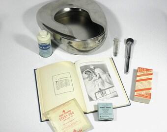 MEDICAL NURSE LOT Vintage Bedpan Syringe 1932 Book Medicine etc