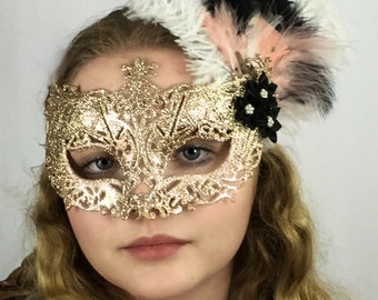 Golden Glitter Venetian Mask with Ostrich Feathers