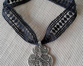 Passementerie silvery black and pendant - CSF-08 collar-Gargantilla