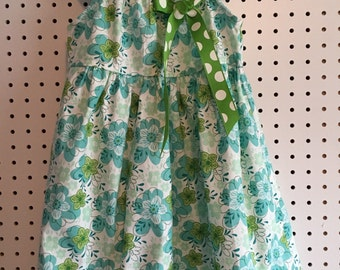 Flowers and polka dots, blue and green toddler girls sun dress 3T