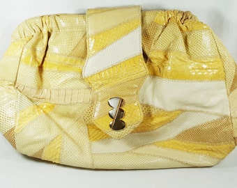 Shoulder Bag made of Leather, Snakeskin And Lizard Deigned By Bags By Varon. Perfect for a cruise, everyday or church.