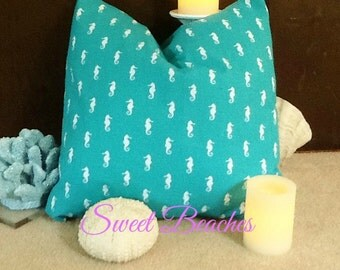 Light Turquoise Seahorse  Print 18 X 18 Beach Pillow Cushion  Covers Seaside Ocean Coastal Nautical Decor