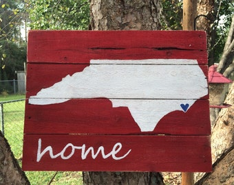 Red, white and blue NC Home sign