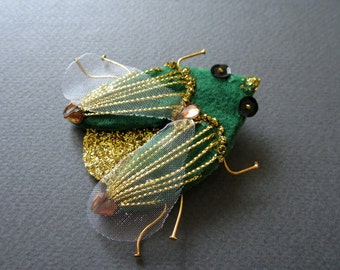 Bug. Brooch. Free shipping.