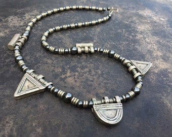 Necklace of old telsum amulets from Ethiopia,with new hematite beads and African metal heishi