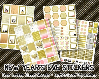 New Year's Eve Printable Stickers for Erin Condren Life Planner