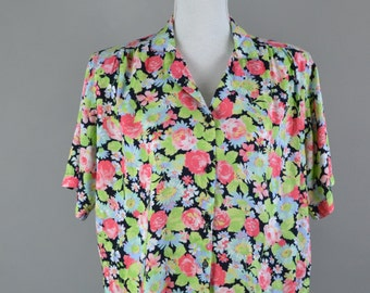 Floral Blouse  |  Multi-Coloured Blouse  |  80s Blouse