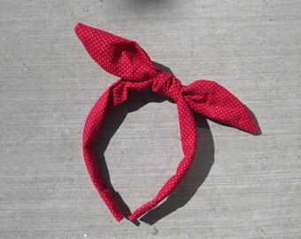 Adjustable Bunny Bow Korean Style Headband in Red W/ White Polka Dots
