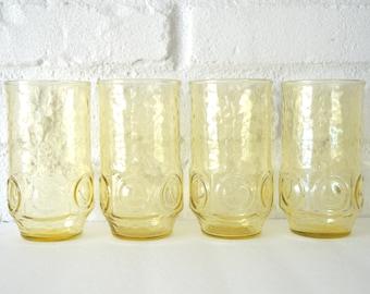 Set of 4 Anchor Hocking Honey Heritage Hill Juice Glasses, Tumblers, Medium Size, Yellow