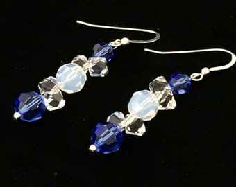 Ocean Dreams Earrings,Sterling Silver Earrings, Swarovski Crystal Earrings, Blue Earrings