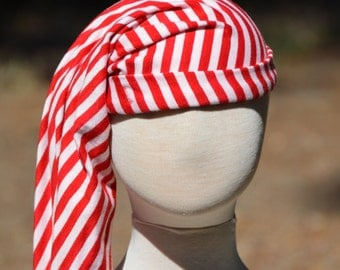 Red and White Stripe Pirate Stocking Cap for Adults and Children,pirate hats,stocking caps, knit hats,night cap,kids pirate hat,adult pirate