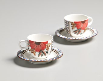 Espresso cup and saucer 1set-hand painted cup set-coffee cup