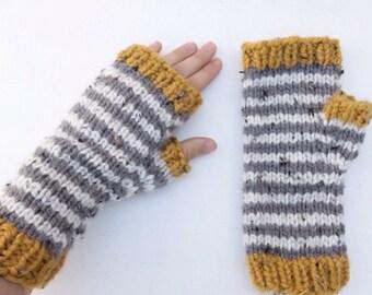 Fingerless Mitts, gloves, mittens, stripes, tweed, handknit