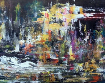 Common dream man.. - ORIGINAL abstract painting on hardboard | Man dreams about women | Size: 16'' x 24'' (40cm x 60cm)