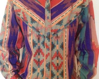 Vintage western shirt - vintage southwestern shirt - vintage button down long sleeve shirt